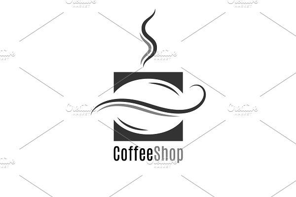 Coffee shop logo. Coffee bean.
