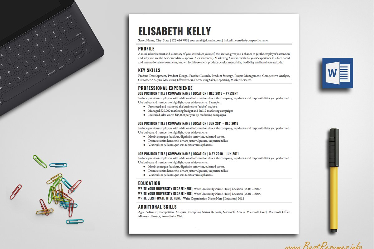 Simple Resume Template Word Resume Templates Creative Market