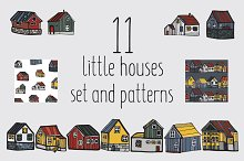 Little houses set and patterns