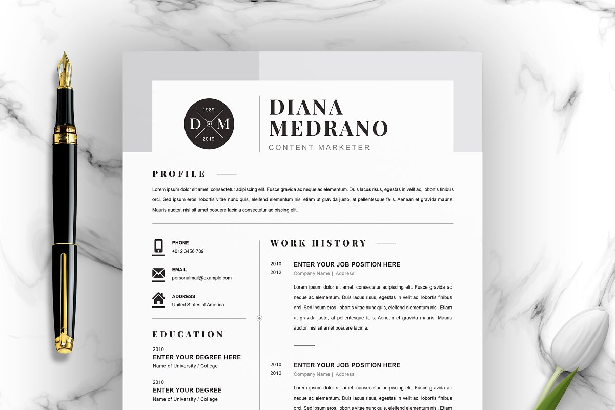 3 Page Resume Template Docx Psd Cover Letter Templates