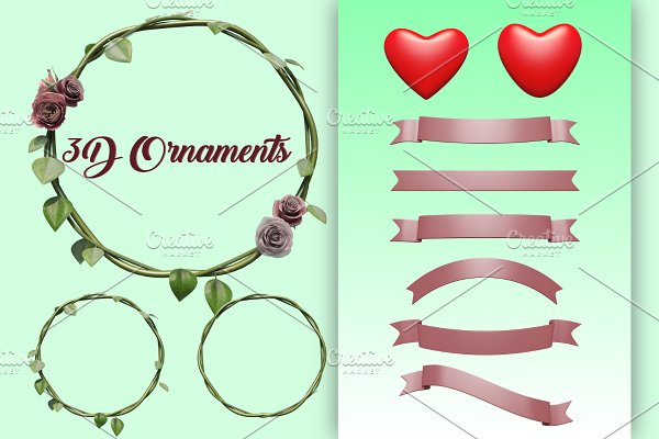 3D Ornaments Romantic and Marriage