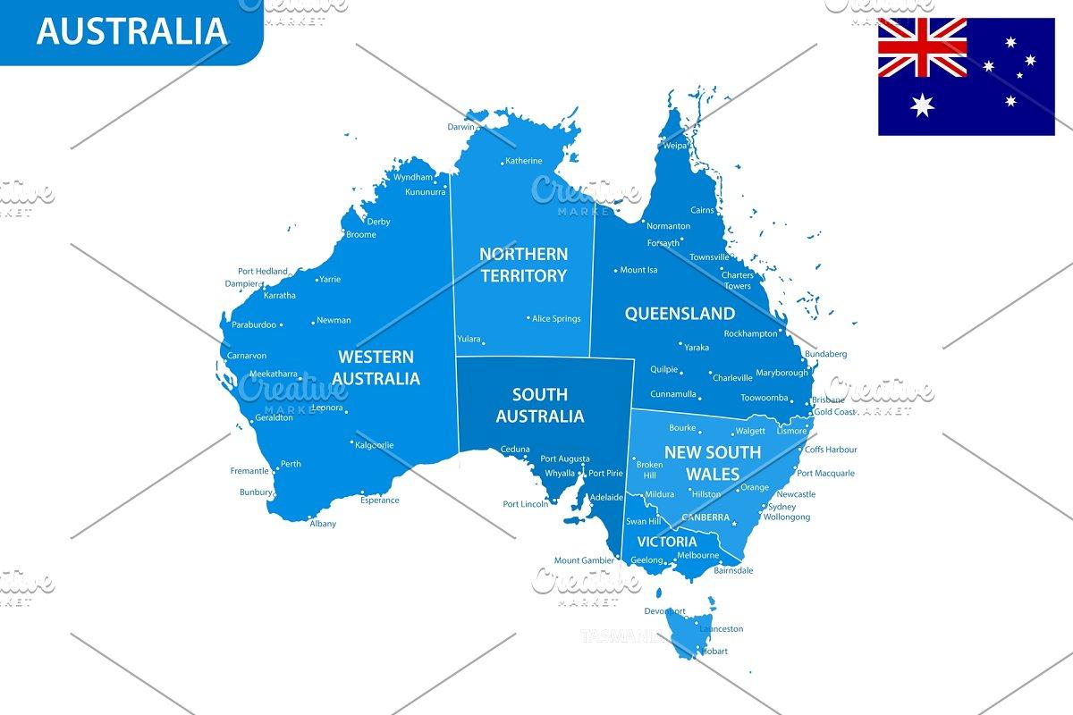 Detailed map of Australia ~ Illustrations ~ Creative Market