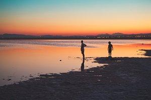 Sunset in lake