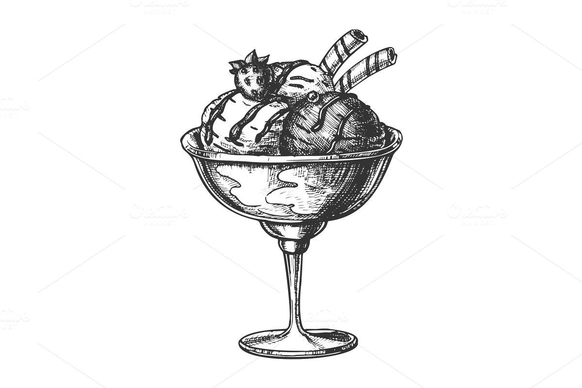 Scoop Ice Cream Cup With Fruit Hand