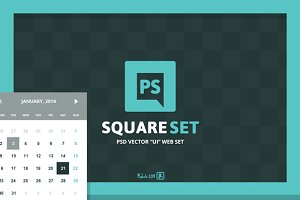 """Square"" PSD vector UI web set"