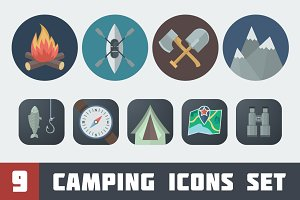 Flat Camping Icons Set