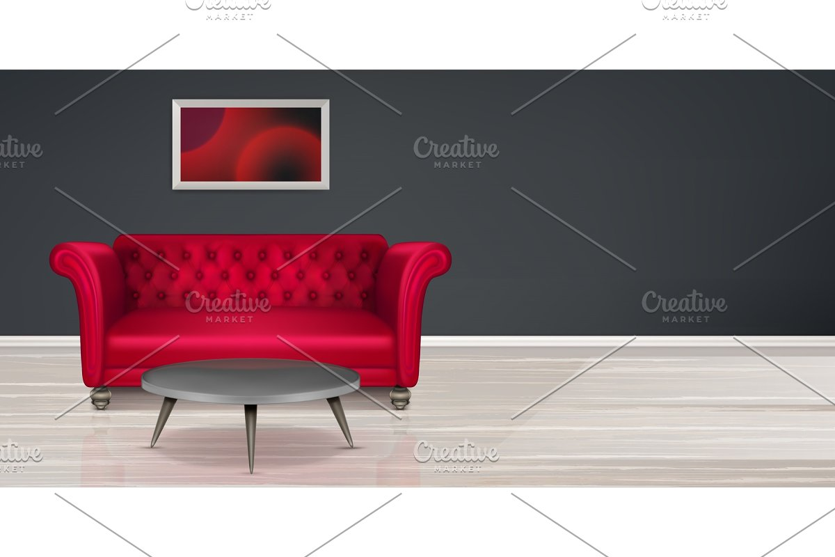 Red couch, sofa modern dwelling