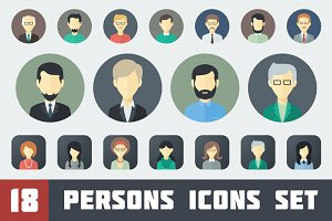Flat Persons Icons Set 1