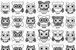 Doodle Owls Clipart & Vectors