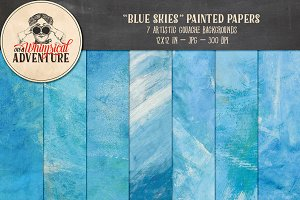 Blue Skies Painted Papers