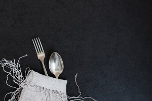 Fork, spoon and napkin