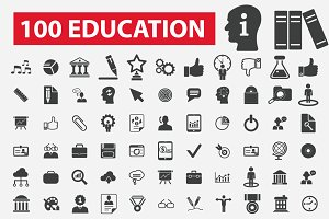100 education icons: learning, study