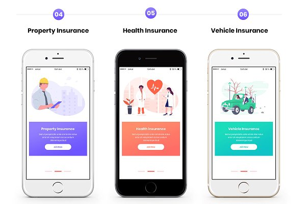 Insurance Company Mobile App Ui Creative Photoshop Templates