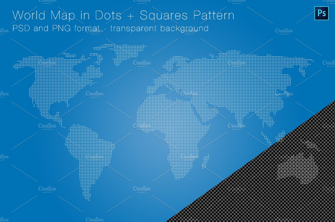 World map in dots squares pattern graphic objects creative market gumiabroncs Images