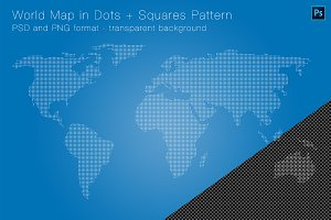 World Map in Dots + Squares Pattern