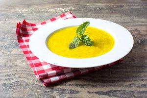 Noodle soup with mint