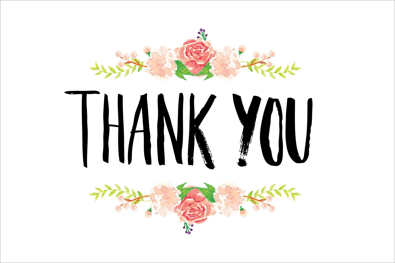 thank you typography flowers vector illustrations