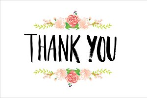 thank you typography/flowers vector