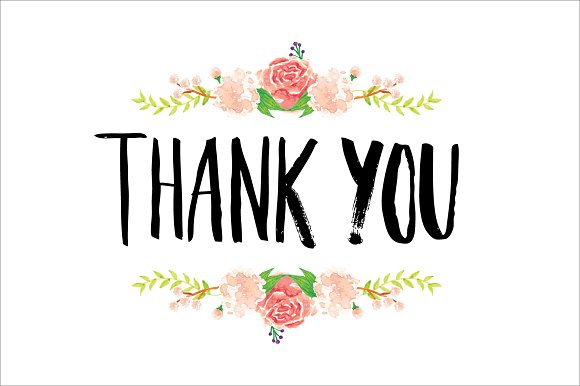 thank you typography/flowers vector ~ Illustrations ...