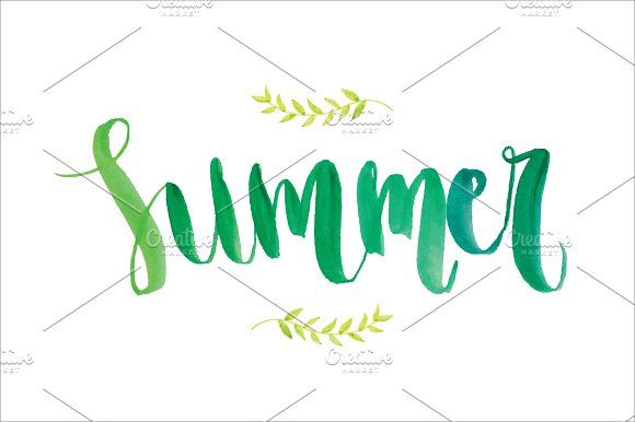 Summer modern calligraphy vector web elements on