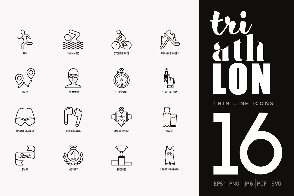 Triathlon | 16 Thin Line Icons Set