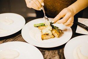 Plating seafood dish