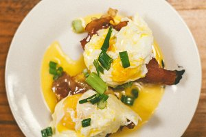 Eggs Benedict w/ Fried Prosciutto