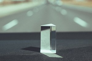 Light Prism on dashboard of car