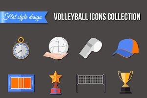 Volleyball icons set