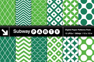Emerald Retro Geometric Papers