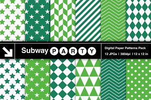 Emerald Green Geometric Papers