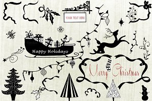 Holiday Handsketch Christmas Clipart