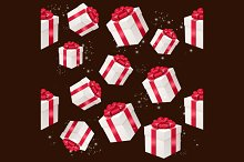 Pattern with Present Box. Vector