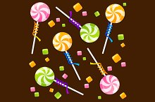 Candy Lollipops Background Pattern