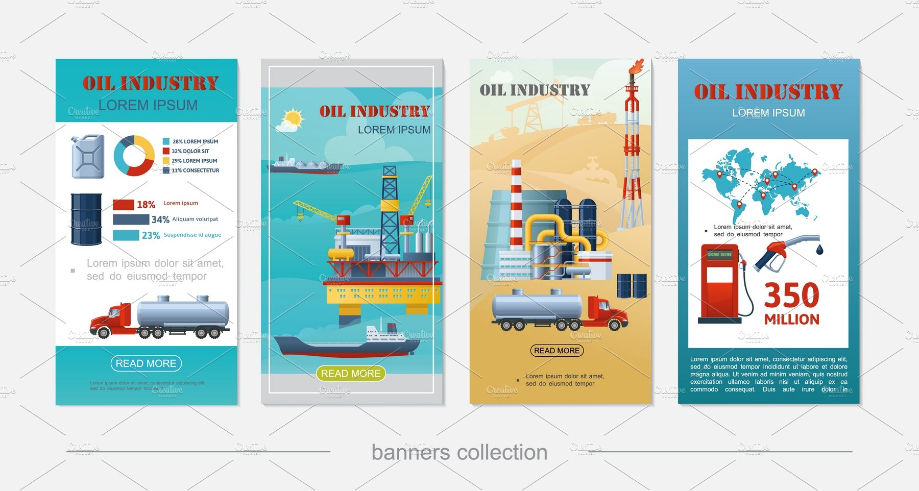 Flat Oil Industry Vertical Banners