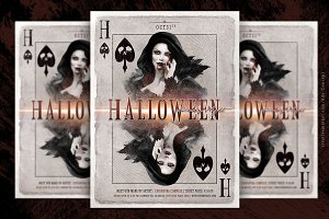 Halloween Play Card Party Flyer