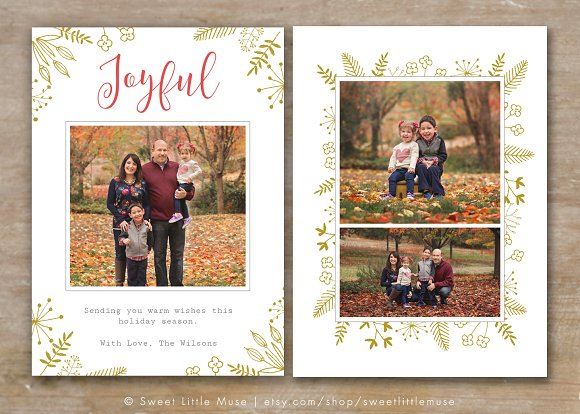 Holiday card template for photoshop card templates creative market for Photoshop holiday card templates