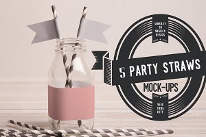 5 Party Straws with Flags!