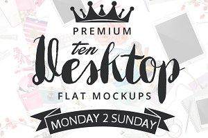 10 Desktop FLAT Mockups