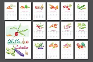2016 Calendar Watercolor Vegetables