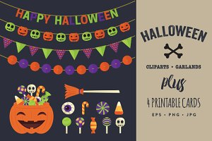 Halloween Cliparts, Garlands & Cards