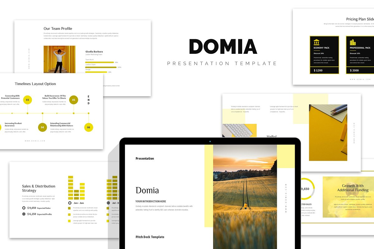 Domia : Yellow Pitch Deck Powerpoint