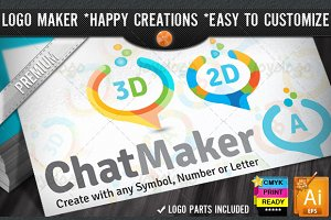 Flat 2D 3D Chat Logo Maker Set