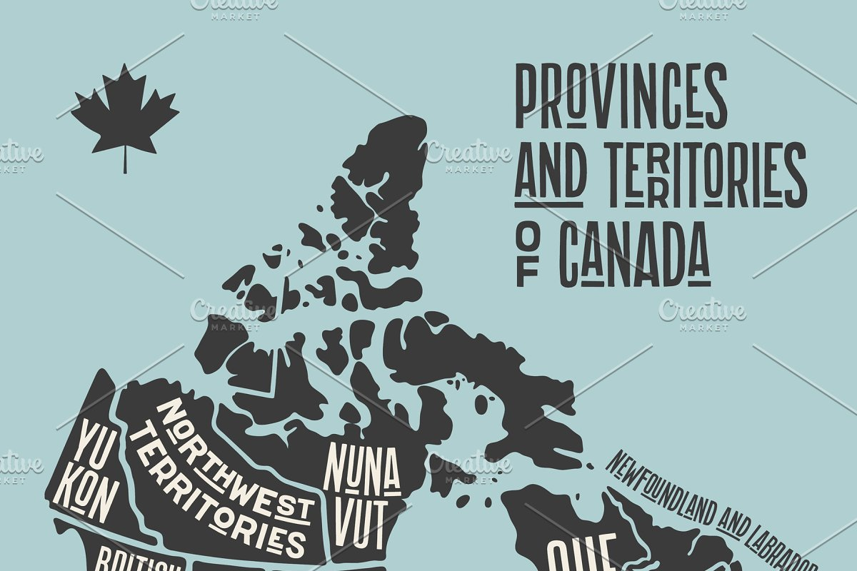 Map Of Canada Silhouette.Map Canada Poster Map Of Provinces