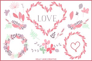 Valentine Wreaths & Flowers Vector