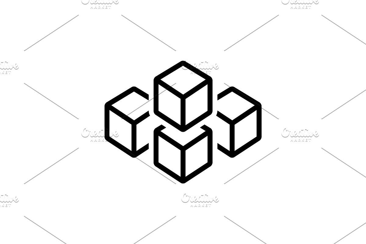 Cube graphic of squares icon ~ Icons ~ Creative Market