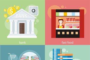 Supermarket, Bank, Fast Food