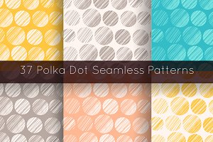 37 Polka dot seamless patterns set