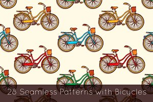 28 Bicycles seamless patterns set