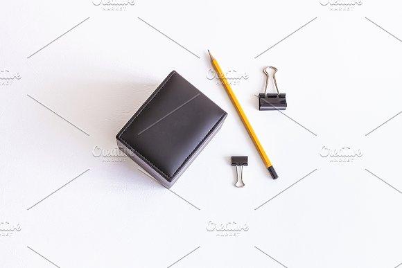Mockup. Black leather box and pencil